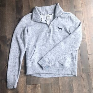 PINK Grey quarter-zip